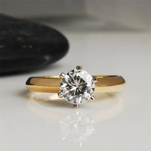NEW Luxury Gold S925 6 Claw 2 ct Wedding Ring